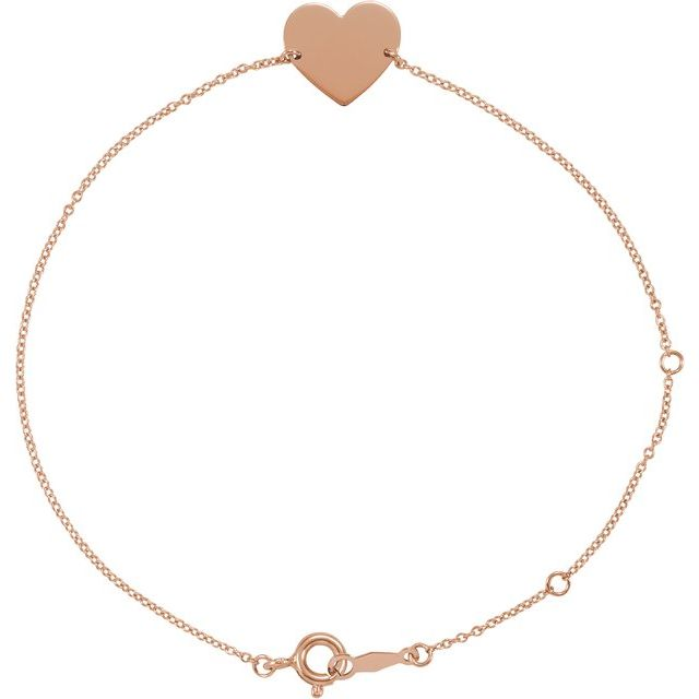 18K Rose Gold-Plated Sterling Silver Heart 7-8