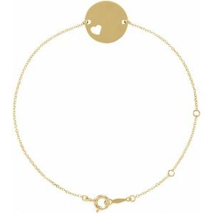 "14K Yellow Pierced Heart Disc 7-8"" Bracelet"