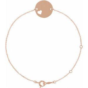 """14K Rose Pierced Heart Disc 7-8"""" Bracelet"""