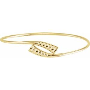 "14K Yellow 16.5 mm Bypass Bangle 7"" Bracelet"