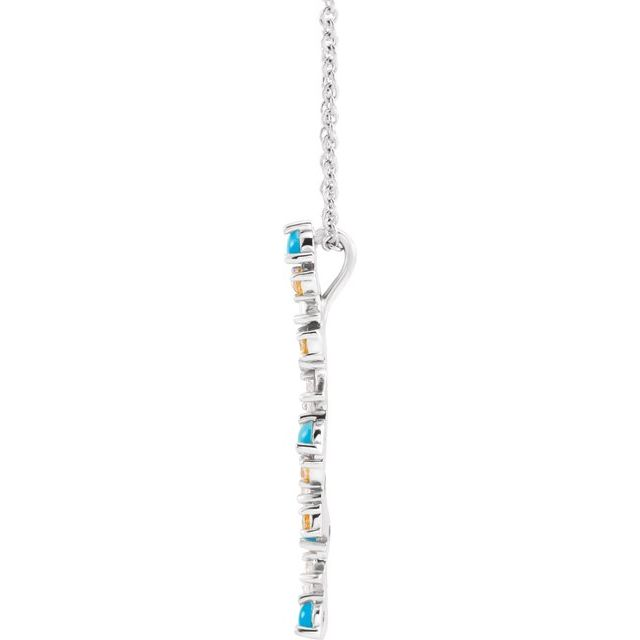 Sterling Silver Honey Passion Topaz, Turquoise & 1/8 CTW Diamond Scattered Bar 16-18