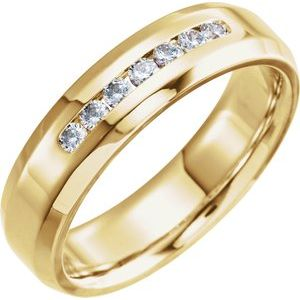 14K Yellow 1/4 CTW Diamond Beveled Edge Band Size 10