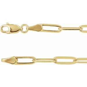 "18K Yellow Gold-Plated Sterling Silver 3.85 mm Elongated Flat Link 18"" Chain"