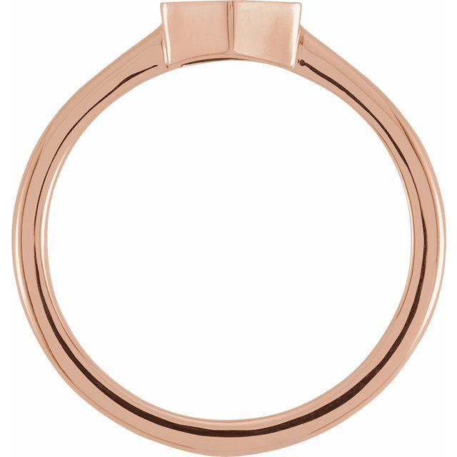 14K Rose  9.5x8 mm Geometric Signet Ring