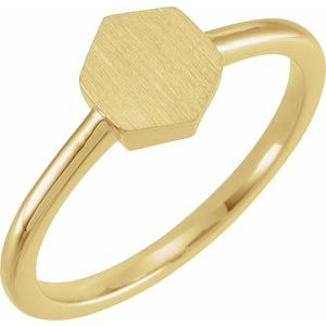 14K Yellow  9.5x8 mm Geometric Signet Ring