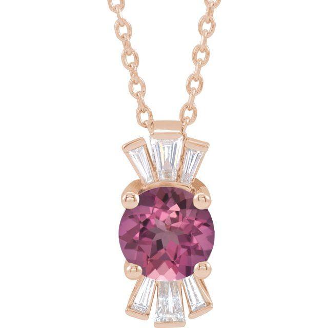14K Rose Pink Tourmaline & 1/6 CTW Diamond 16-18
