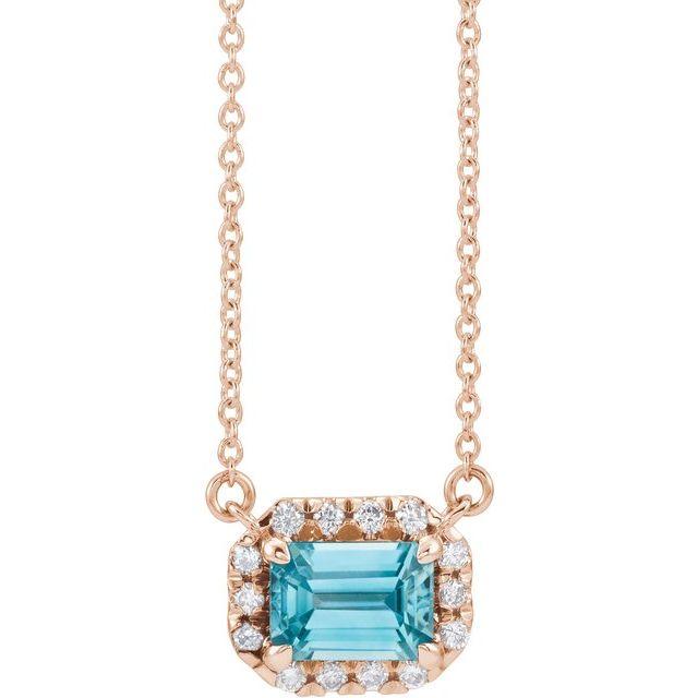 14K Rose 5x3 mm Emerald Blue Zircon & 1/8 CTW Diamond 16