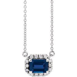 "14K White 6x4 mm Emerald Blue Sapphire & 1/5 CTW Diamond 16"" Necklace"