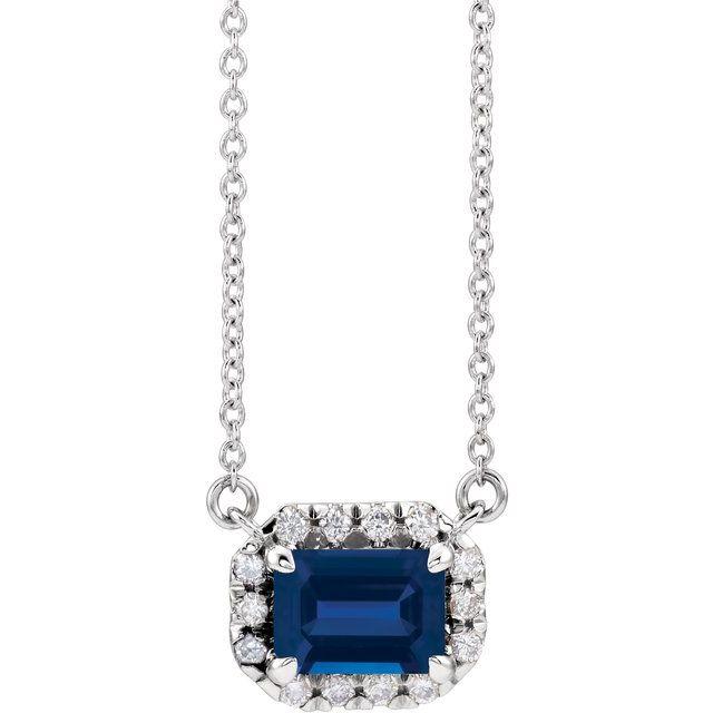 14K White 7x5 mm Emerald Blue Sapphire & 1/5 CTW Diamond 16