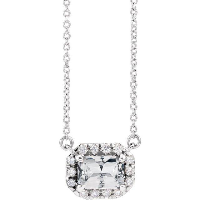 14K White 5x3 mm Emerald White Sapphire & 1/8 CTW Diamond 18