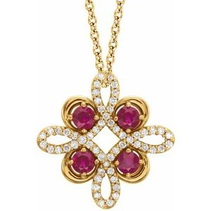 "14K Yellow Chatham® Created Ruby & 1/6 CTW Diamond Clover 18"" Necklace"