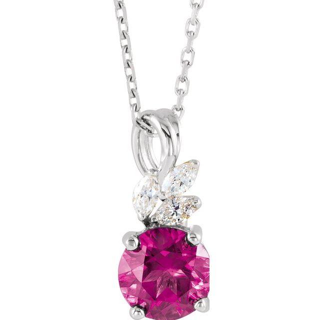 14K White Pink Tourmaline & 1/10 CTW Diamond 16-18