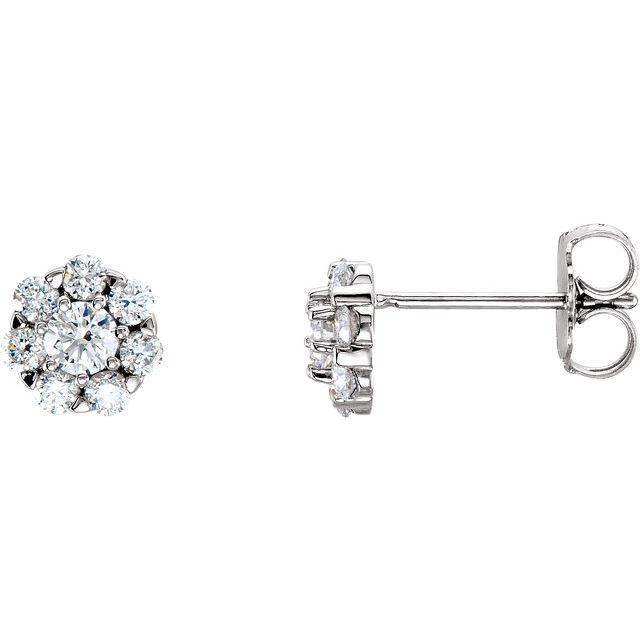 14K White 3/4 CTW Diamond Cluster Earrings