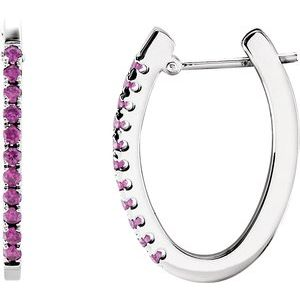 14K White Pink Sapphire Hoop Earrings