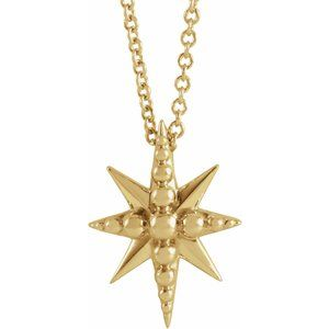 "14K Yellow Beaded Starburst 16-18"" Necklace"
