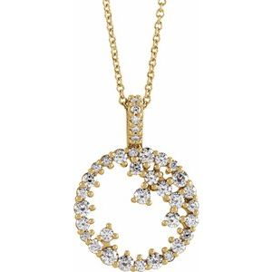 "14K Yellow 3/4 CTW Diamond Scattered Circle 16-18"" Necklace"
