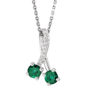 "14K White Chatham® Created Emerald & .05 CTW Diamond 16-18"" Necklace"