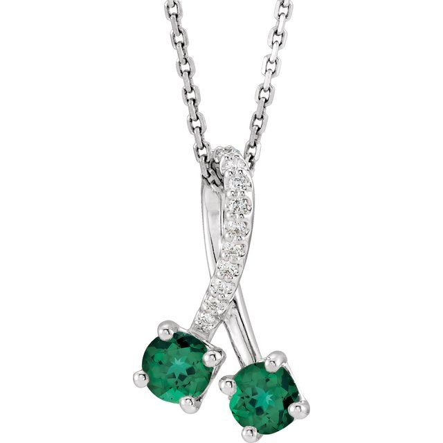 "14K White Chatham® Created Emerald & .05 CTW Diamond 16-18"" Necklace"