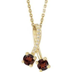 "14K Yellow Mozambique Garnet & .05 CTW Diamond 16-18"" Necklace"