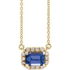 "14K Yellow 7x5 mm Emerald Tanzanite & 1/5 CTW Diamond 16"" Necklace"