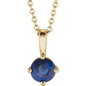 """14K Yellow 5 mm Round Blue Sapphire Solitaire 16-18"""" Necklace"""