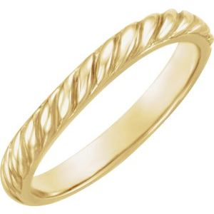 14K Yellow Twisted Rope Stackable Band