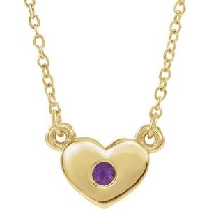 "14K Yellow Amethyst Heart 16"" Necklace"