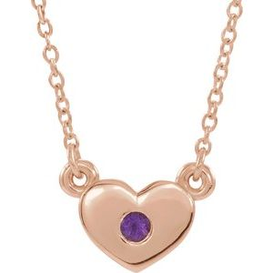 "14K Rose Amethyst Heart 16"" Necklace"
