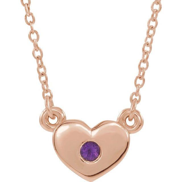 14K Rose Amethyst Heart 16