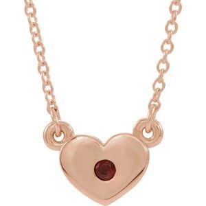 "14K Rose Mozambique Garnet Heart 16"" Necklace"