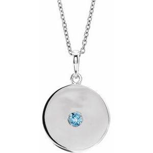 "14K White Aquamarine Disc 16-18"" Necklace"
