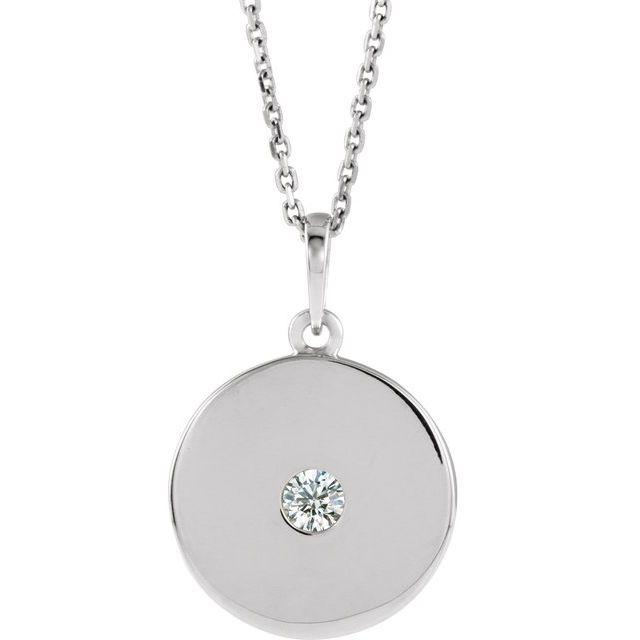 14K White 1/10 CTW Diamond Disc Necklace