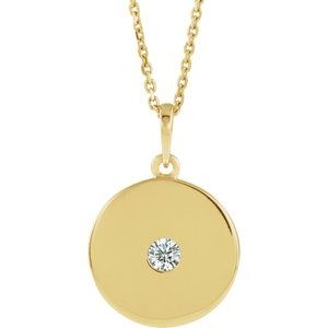 14K Yellow 1/10 CTW Diamond Disc Necklace
