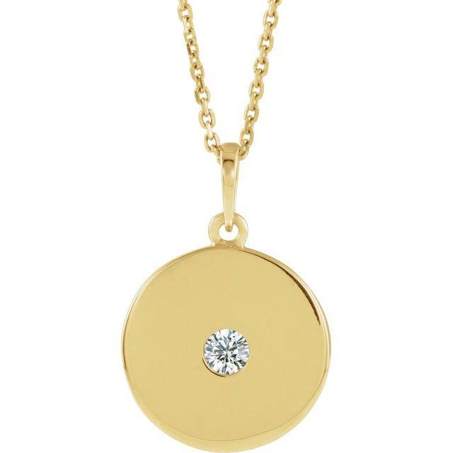 14K Yellow 1/10 CTW Diamond Disc Necklace