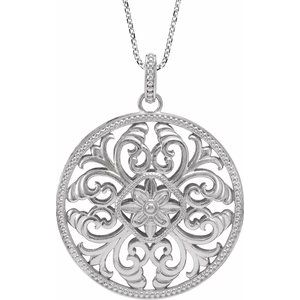 """Sterling Silver Filigree Circle 18"""" Necklace"""