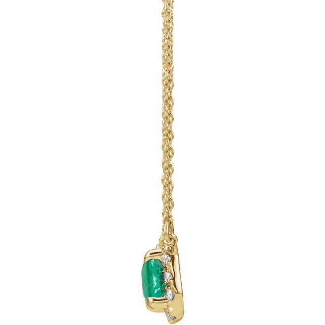14K Yellow 6x4 mm Emerald Emerald & 1/5 CTW Diamond 18