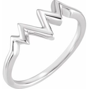 14K White Heartbeat Ring