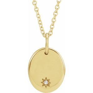 "14K Yellow .005 CT Diamond Starburst 16-18"" Necklace"