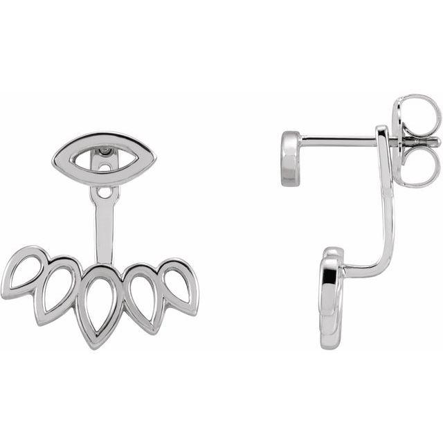 Sterling Silver Geometric Ear Jacket Stud Earrings