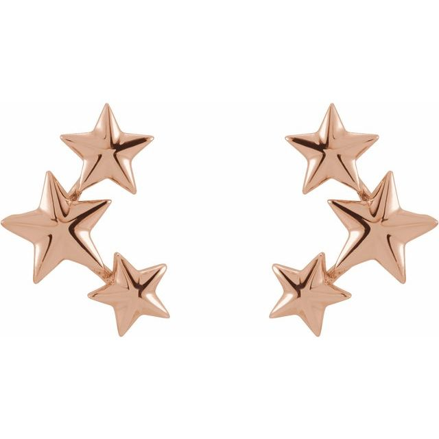 14K Rose 11.4x4.3 mm Star Ear Climbers