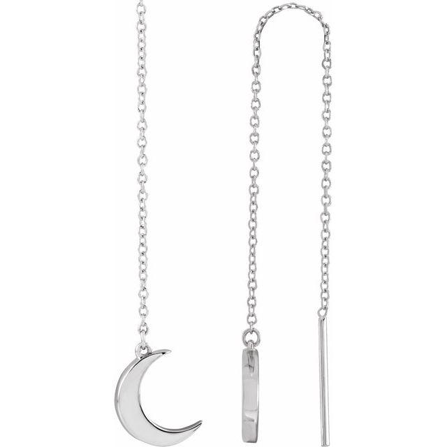 14K White Crescent Chain Earrings