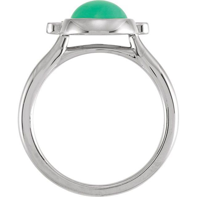 14K White Chrysoprase & 1/8 CTW Diamond Ring