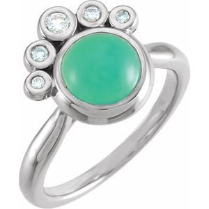 14K White Chrysoprase & 1/8 CTW Diamond Ring