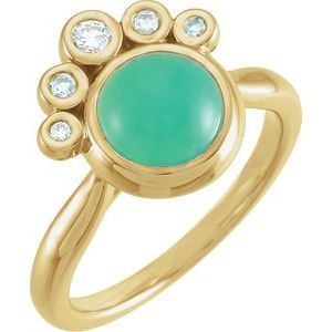 14K Yellow Chrysoprase & 1/8 CTW Diamond Ring