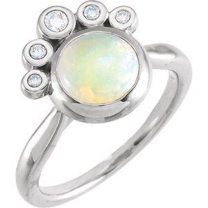 14K White Opal & 1/8 CTW Diamond Ring