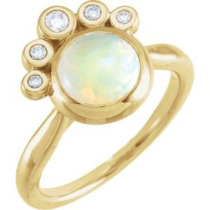 14K Yellow Opal & 1/8 CTW Diamond Ring