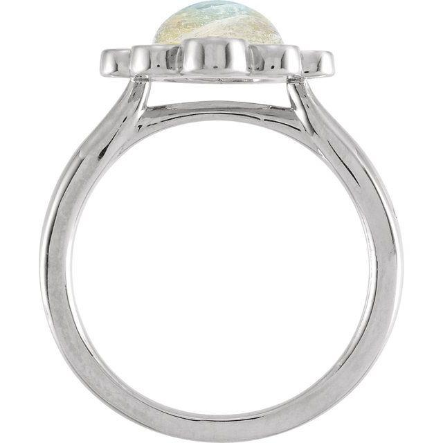 14K White Rainbow Moonstone & 1/8 CTW Diamond Ring
