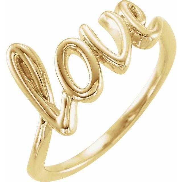 14K Yellow Love Ring