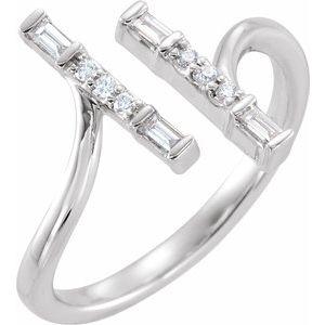 14K White 1/6 CTW Diamond Double Bar Ring