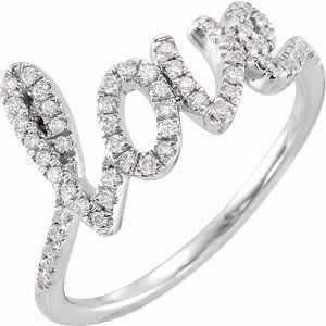 14K White 1/4 CTW Diamond Love Ring